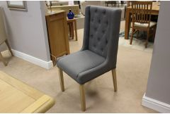 Chair Collection- Grey Curved Back Buttoned Chair- Clearance