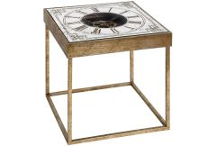 Square Mirrored Clock Table with Mechanism